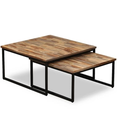vidaXL Nesting Coffee Table Set 2 Pieces Solid Reclaimed Teak[10/15]