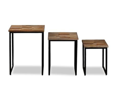 vidaXL Nesting Coffee Table Set 3 Pieces Solid Reclaimed Teak[17/18]