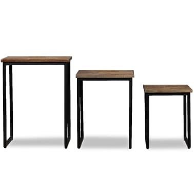 vidaXL Nesting Coffee Table Set 3 Pieces Solid Reclaimed Teak[2/18]