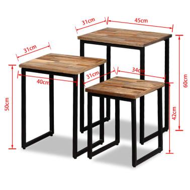 vidaXL Nesting Coffee Table Set 3 Pieces Solid Reclaimed Teak[18/18]