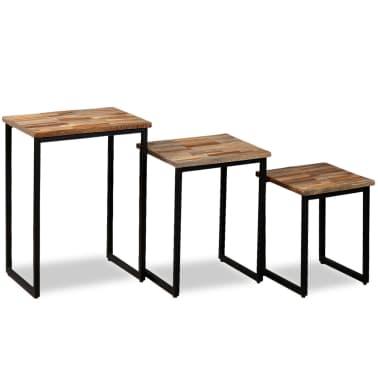 vidaXL Nesting Coffee Table Set 3 Pieces Solid Reclaimed Teak[3/18]