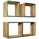 vidaXL Wall Shelf Set 3 pcs Multicolour Solid Reclaimed Teak
