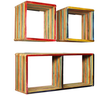 vidaXL Wandregal-Set 3-tlg. Recyceltes Teak Massiv Mehrfarbig[11/11]