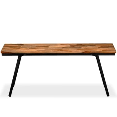 vidaXL Ławka z drewna odzyskanego, tek i stal, 110x35x45 cm[2/13]