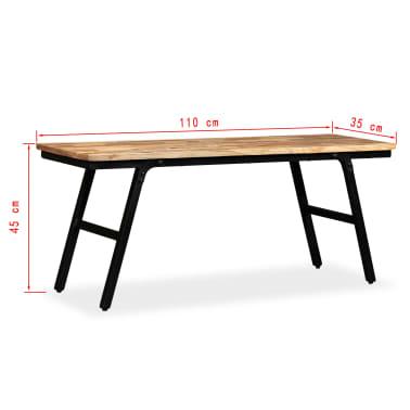vidaXL Ławka z drewna odzyskanego, tek i stal, 110x35x45 cm[13/13]