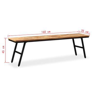 """vidaXL Bench Reclaimed Teak and Steel 62.9""""x13.7""""x17.7""""[13/13]"""