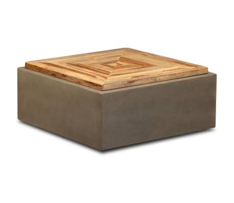 vidaXL Table basse Teck de récupération et béton 70 x 70 x 30 cm