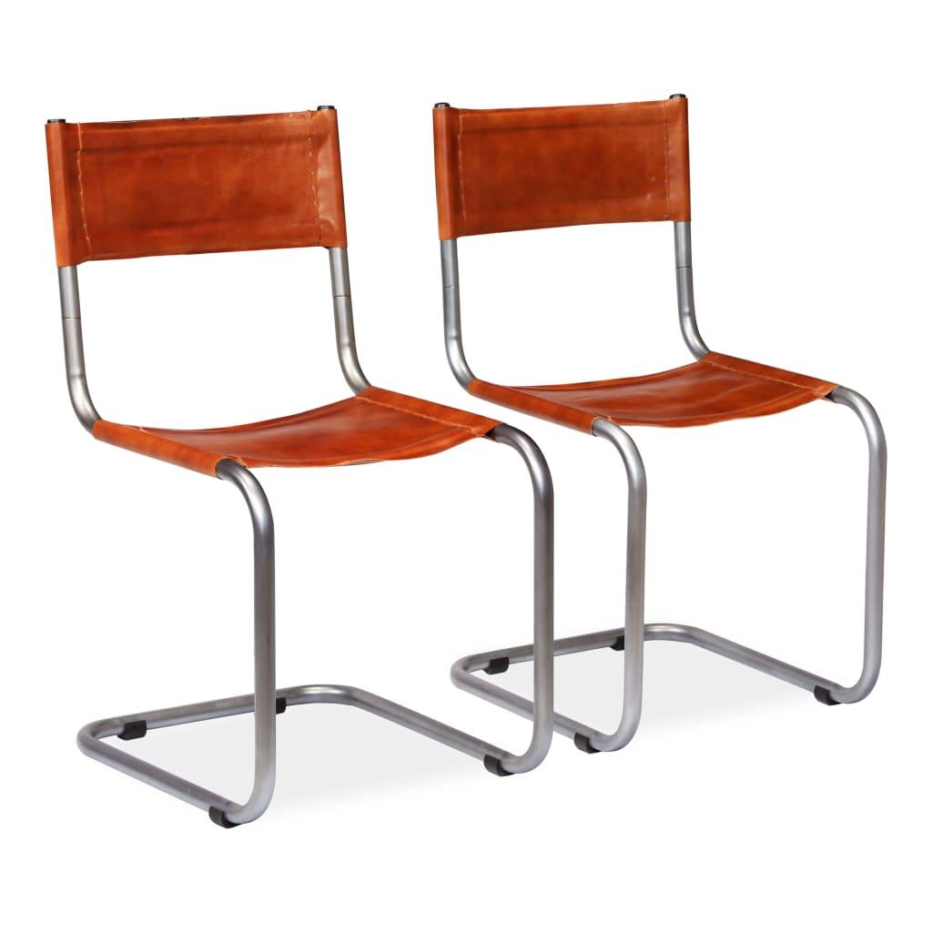 vidaXL spisebordsstole 2 stk. ægte læder brun