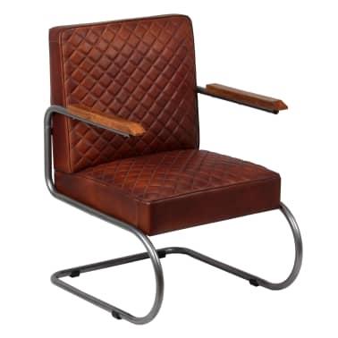vidaXL Fåtölj mörkbrun äkta läder[2/14]