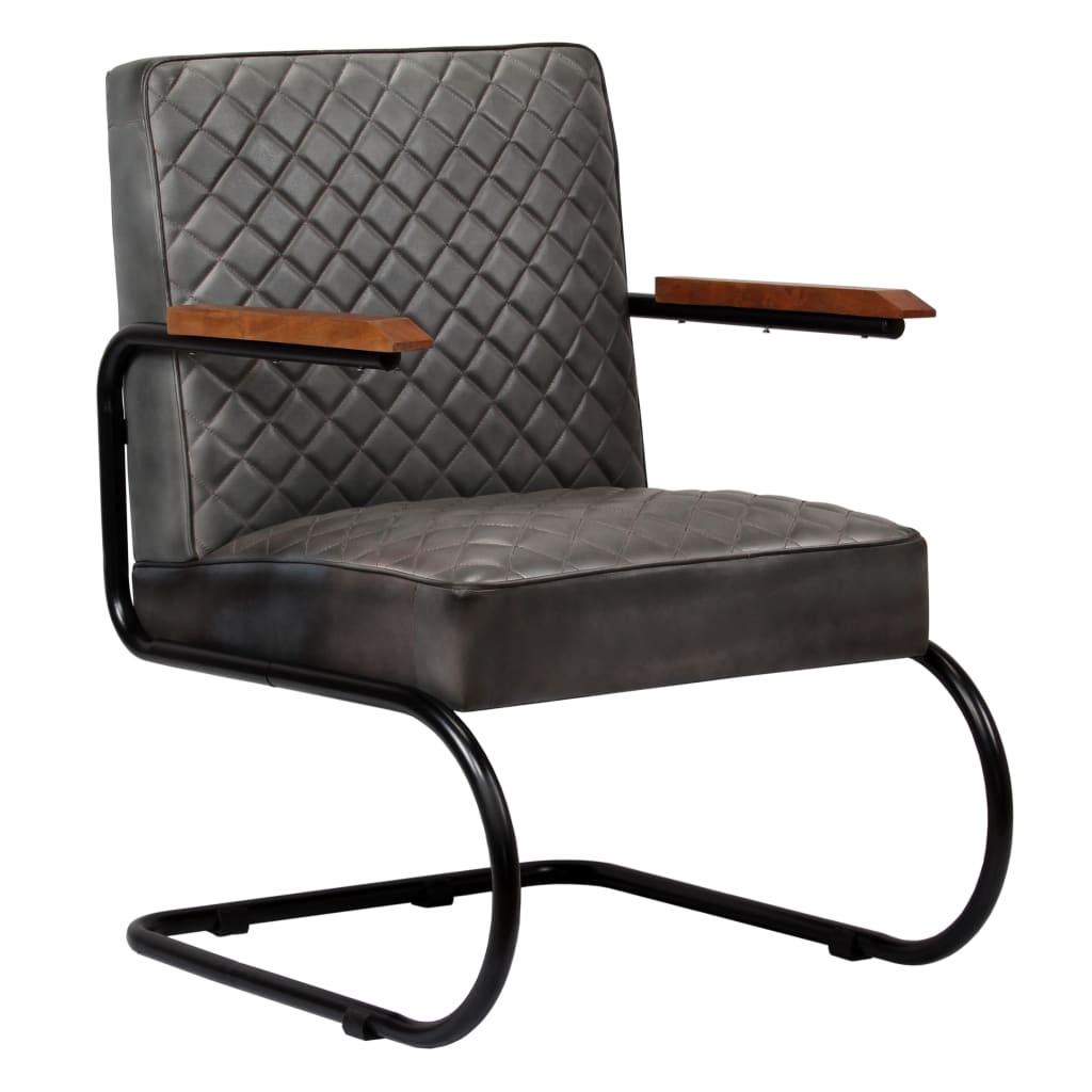 vidaXL Fotel, szary, skóra naturalna