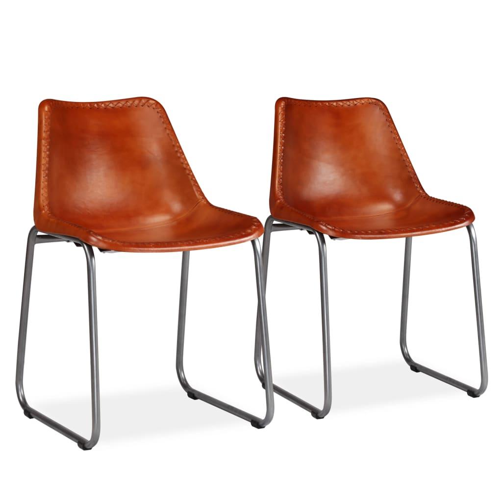 vidaXL Καρέκλες Τραπεζαρίας 2 τεμ. Καφέ από Γνήσιο Δέρμα