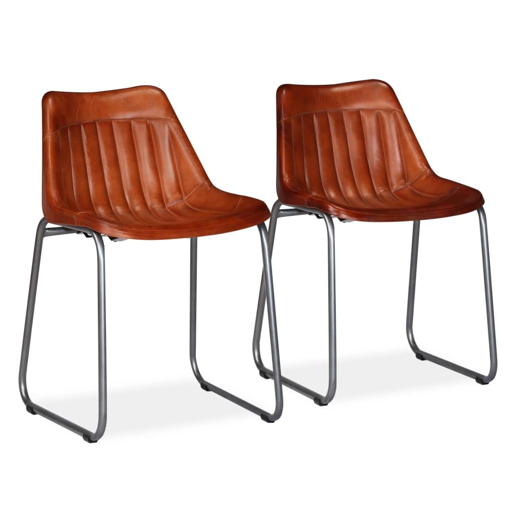 vidaXL Jídelní židle 2 ks z pravé kůže s pruhováním hnědé