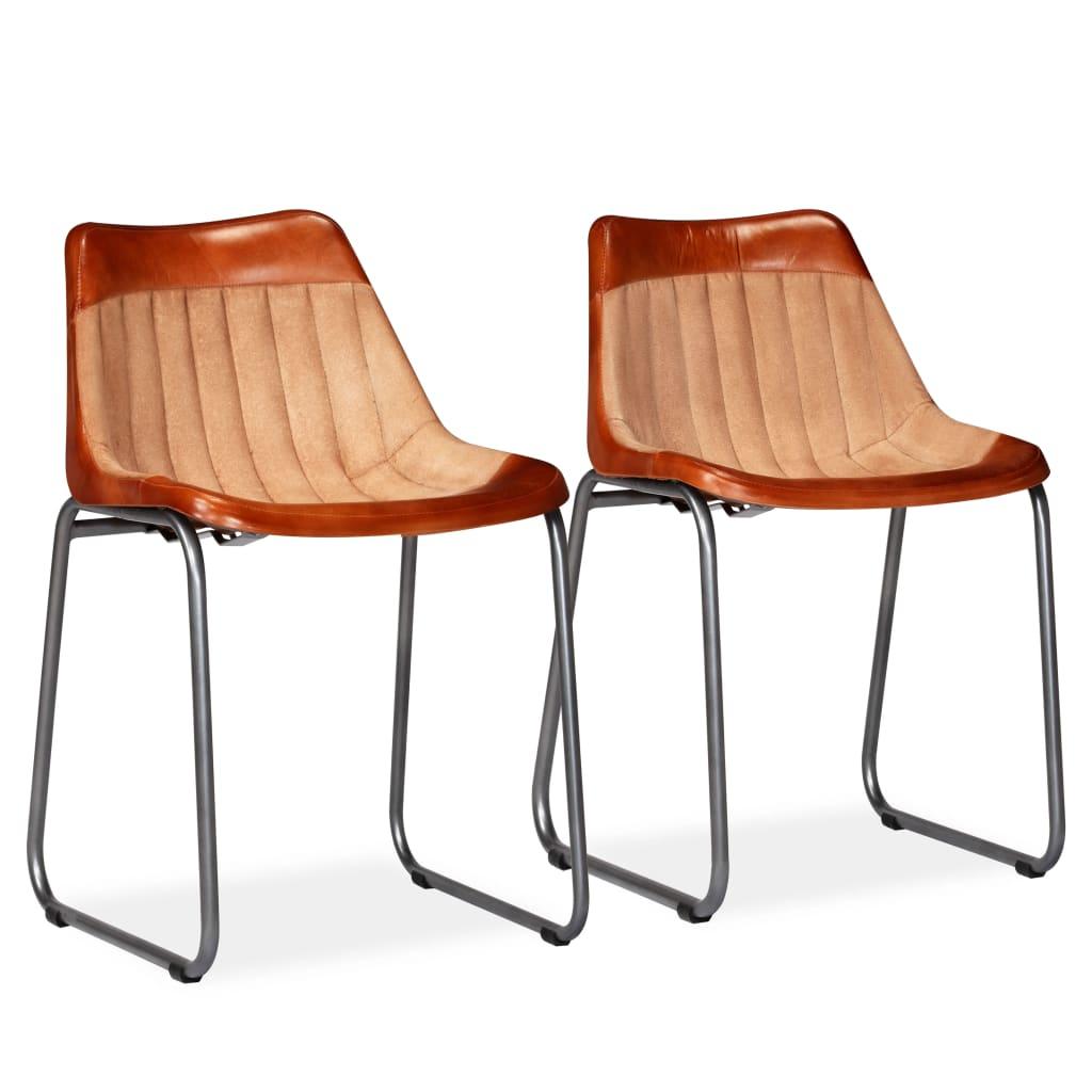 vidaXL spisebordsstole 2 stk. ægte læder og kanvas brun og beige