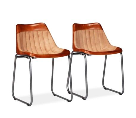 vidaXL Esszimmerstühle 2 Stk. Braun/Beige Echtleder und Kanevas