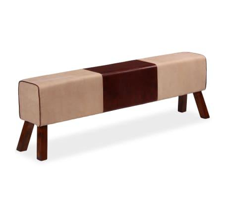 vidaXL Bancă din piele veritabilă și textil, bej și maro, 160x28x50 cm[2/7]