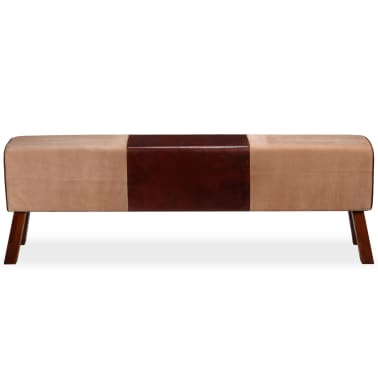 vidaXL Bancă din piele veritabilă și textil, bej și maro, 160x28x50 cm[3/7]