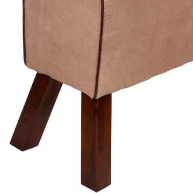 vidaXL Bancă din piele veritabilă și textil, bej și maro, 160x28x50 cm[6/7]