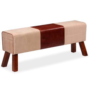 vidaXL Suoliukas, smėlio ir rudos, tikra oda ir drobė, 120x30x45cm[2/7]