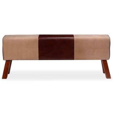 vidaXL Suoliukas, smėlio ir rudos, tikra oda ir drobė, 120x30x45cm[3/7]
