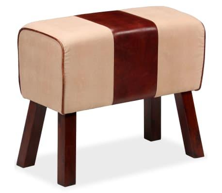 vidaXL Suoliukas, tikra oda ir drobė, smėlio ir rudos sp., 60x30x50 cm[2/7]