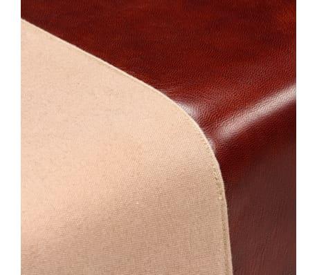 vidaXL Suoliukas, tikra oda ir drobė, smėlio ir rudos sp., 60x30x50 cm[5/7]