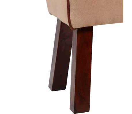 vidaXL Suoliukas, tikra oda ir drobė, smėlio ir rudos sp., 60x30x50 cm[6/7]