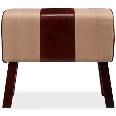vidaXL Suoliukas, tikra oda ir drobė, smėlio ir rudos sp., 60x30x50 cm[3/7]