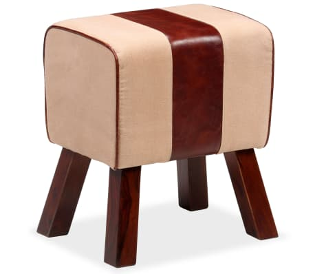 vidaXL Bench Genuine Leather and Canvas Beige and Brown 40x30x45 cm[2/7]