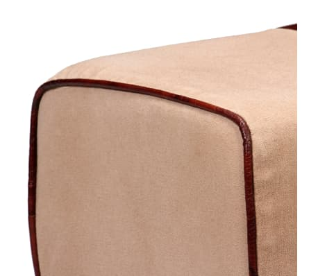 vidaXL Bench Genuine Leather and Canvas Beige and Brown 40x30x45 cm[4/7]