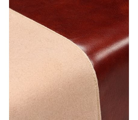 vidaXL Bench Genuine Leather and Canvas Beige and Brown 40x30x45 cm[5/7]