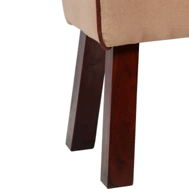 vidaXL Bench Genuine Leather and Canvas Beige and Brown 40x30x45 cm[6/7]