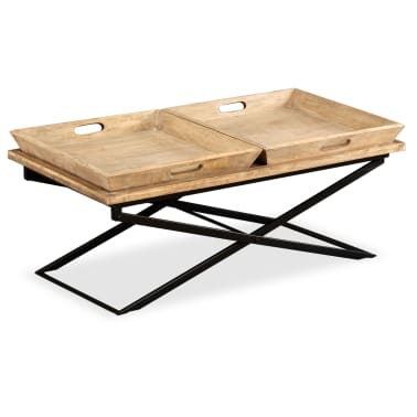 vidaXL Kavos staliukas, masyvi mango mediena, 110x55x42 cm[13/16]