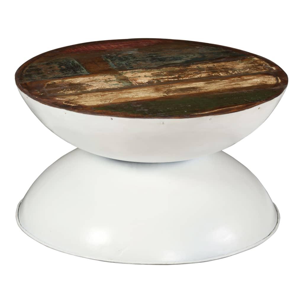 vidaXL Konferenční stolek masivní recyklované dřevo bílý 60x60x33 cm