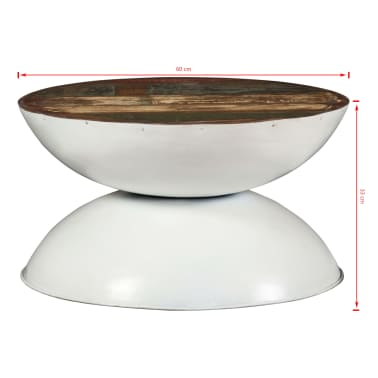 vidaXL Coffee Table Solid Reclaimed Wood White Base 60x60x33 cm[11/11]
