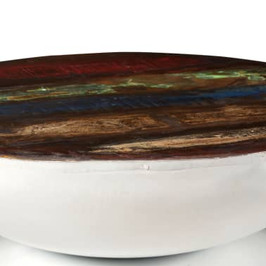 vidaXL Coffee Table Solid Reclaimed Wood White Base 60x60x33 cm[3/11]