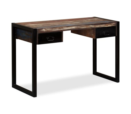 vidaXL Desk with 2 Drawers Solid Reclaimed Wood 120x50x76 cm[11/12]