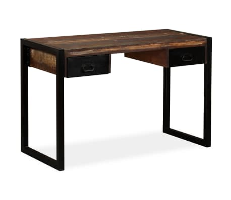 vidaXL Desk with 2 Drawers Solid Reclaimed Wood 120x50x76 cm[9/12]