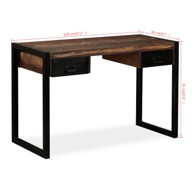 vidaXL Desk with 2 Drawers Solid Reclaimed Wood 120x50x76 cm[8/12]