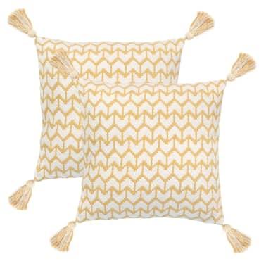 vidaXL 2 poduszki, 45x45 cm, styl boho, żółte[1/4]