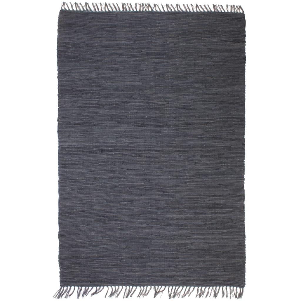 Handgewebter Chindi-Teppich Baumwolle 120×170 cm Anthrazit
