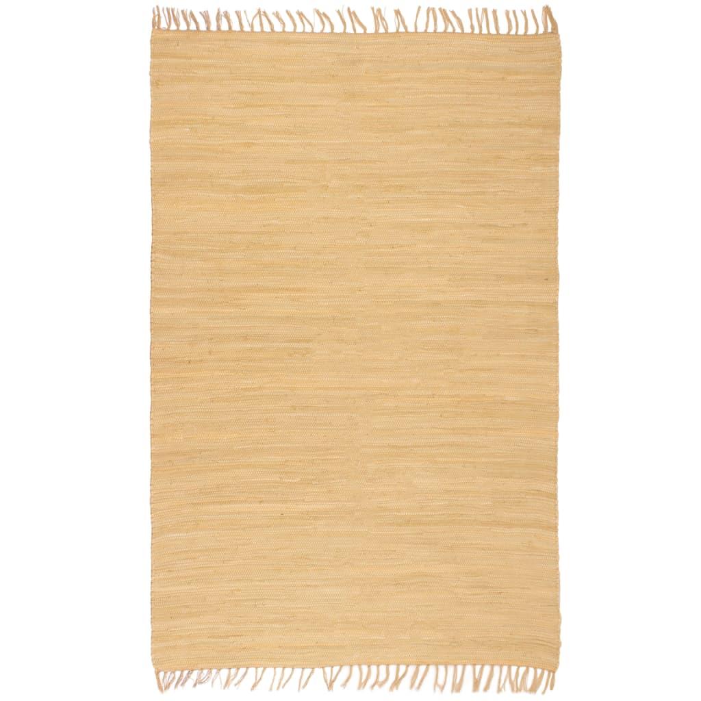 Handgewebter Chindi-Teppich Baumwolle 160×230 cm Beige