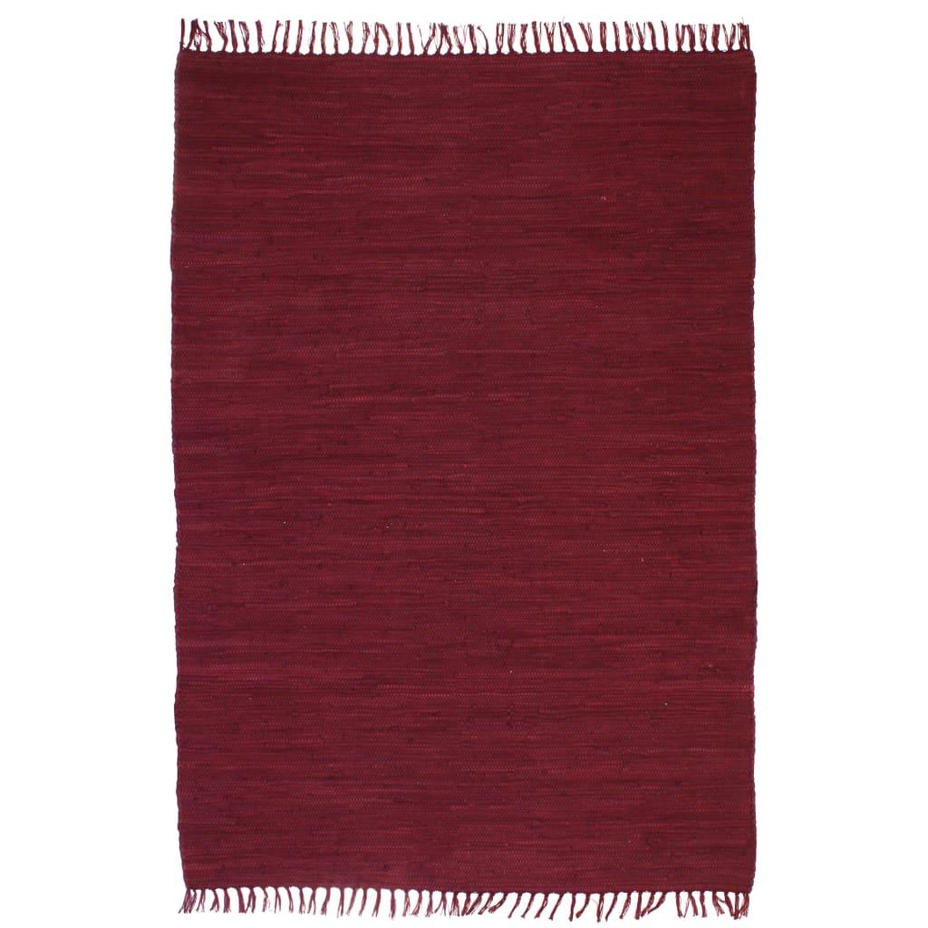 Handgewebter Chindi-Teppich Baumwolle 120×170 cm Weinrot