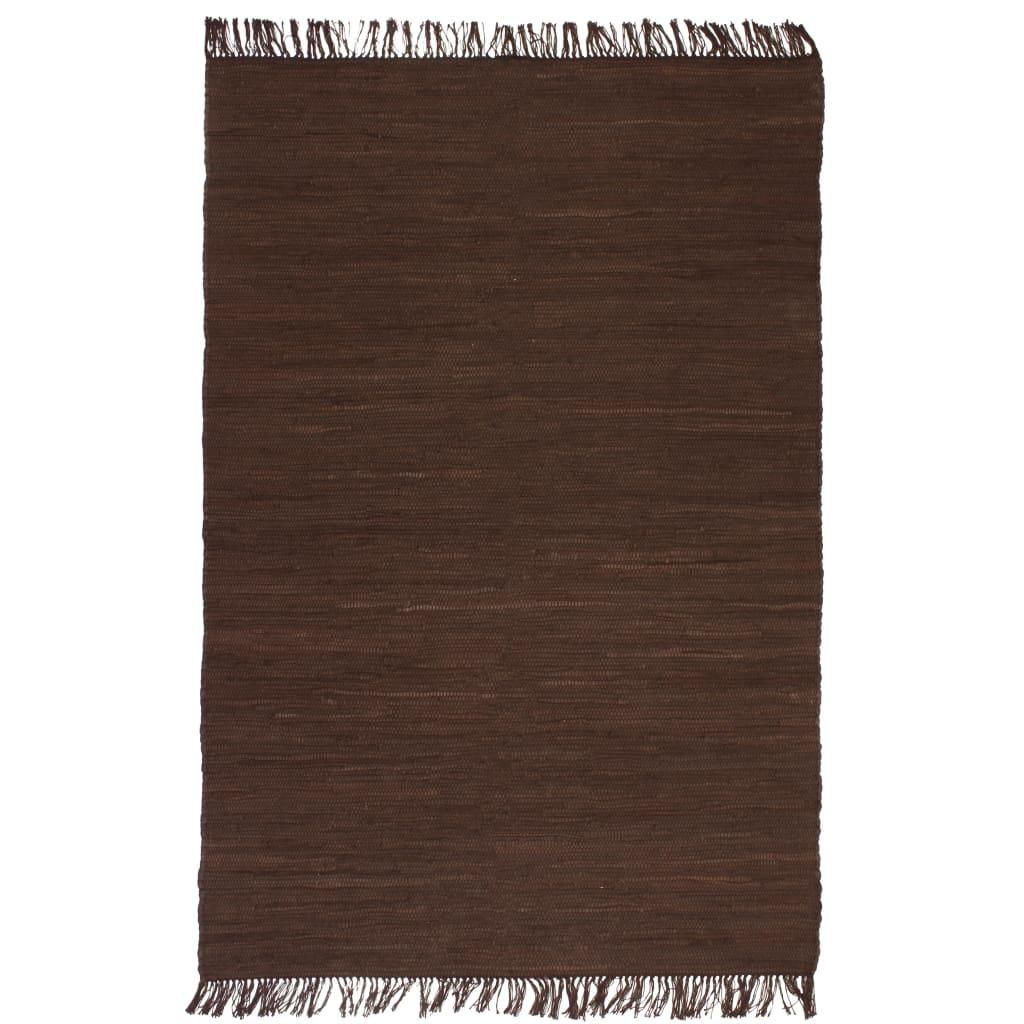 vidaXL Ručně tkaný koberec Chindi bavlna 120 x 170 cm hnědý
