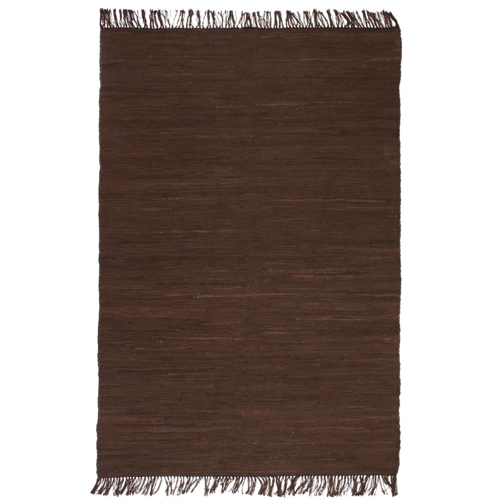 vidaXL Covor Chindi țesut manual, bumbac, 200 x 290 cm, maro poza 2021 vidaXL