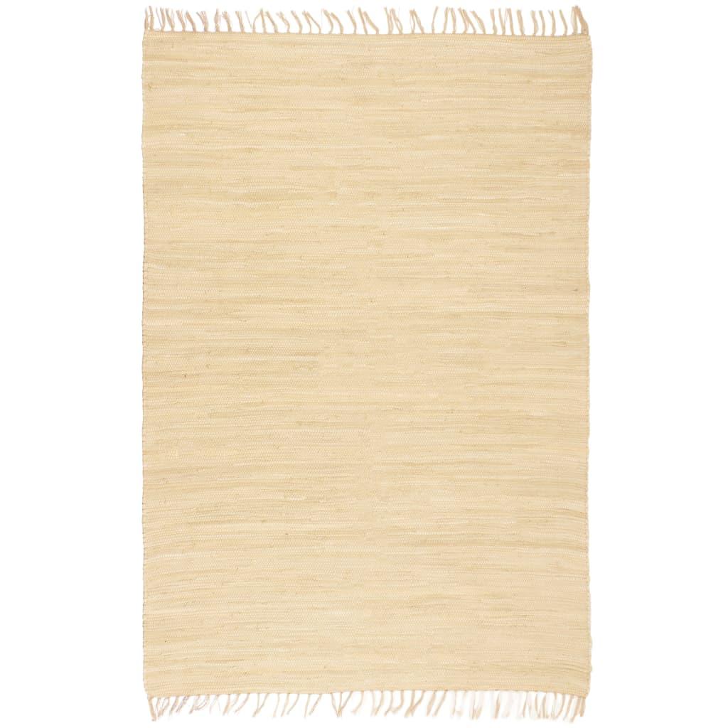 vidaXL Handgewebter Chindi-Teppich Baumwolle 160×230 cm Creme