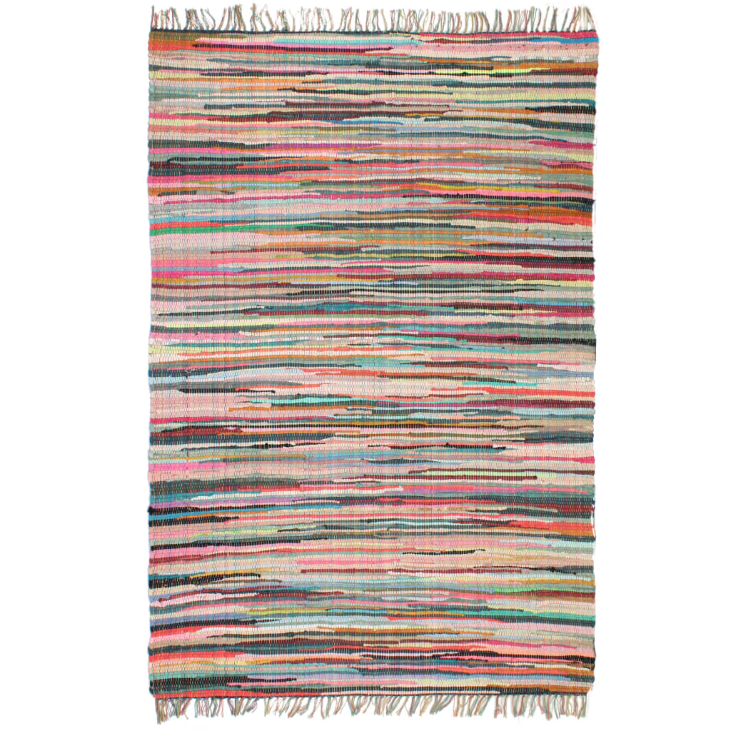 Handgewebter Chindi-Teppich Baumwolle 120×170 cm Mehrfarbig