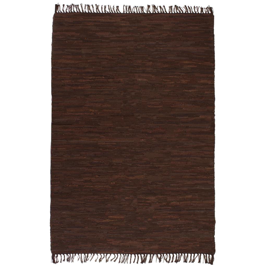 vidaXL Ručně tkaný koberec Chindi kůže 120 x 170 cm hnědý