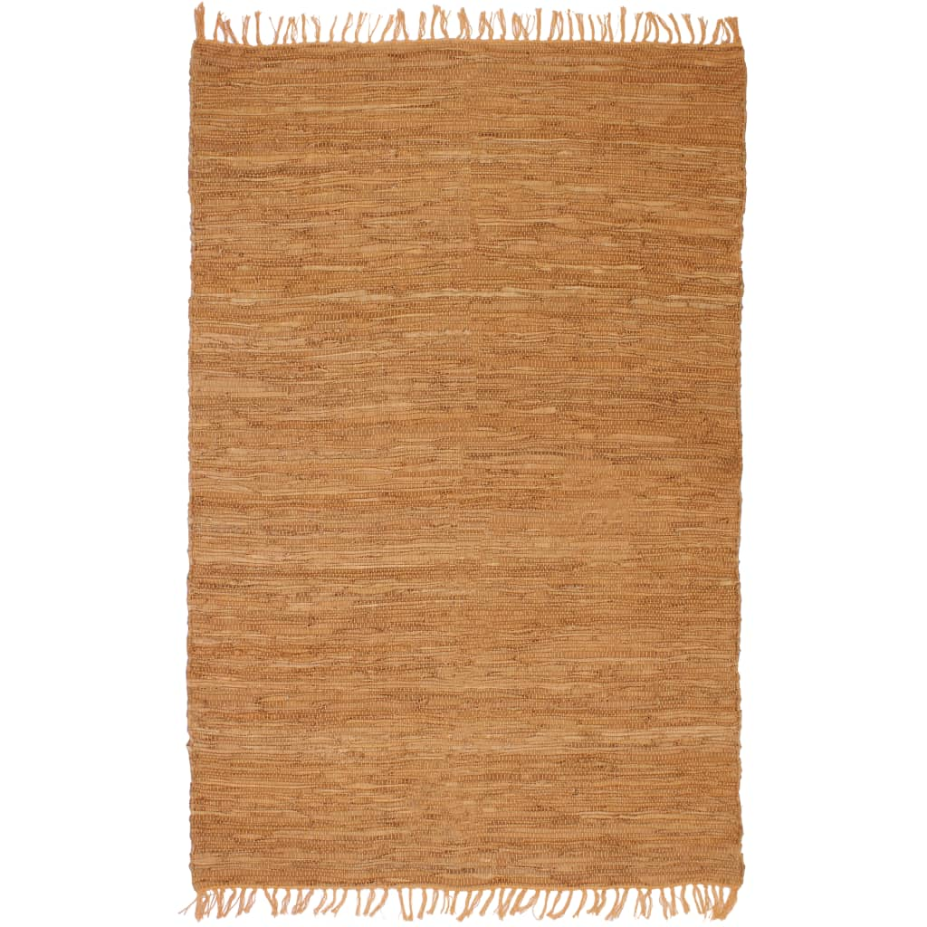 vidaXL Vloerkleed Chindi handgeweven 160x230 cm leer tan