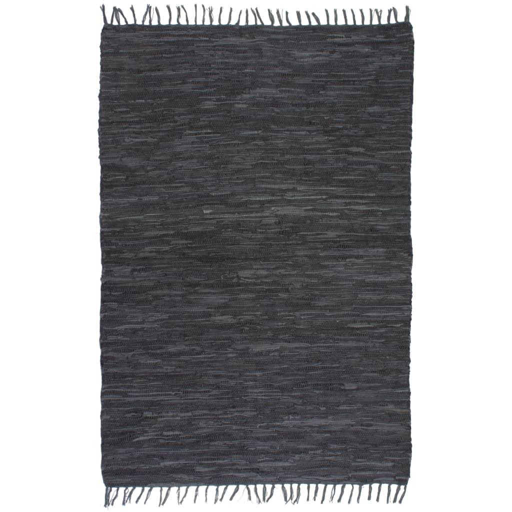 Ručně tkaný koberec Chindi kůže 80 x 160 cm šedý