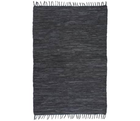 vidaXL Vloerkleed Chindi handgeweven 80x160 cm leer grijs
